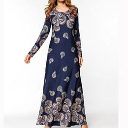 Femmes Robe De Soirée Robe Bohème Imprimé Plus La Taille À Manches Longues O-Cou Style National Mince Robe Longue Dropship en Solde