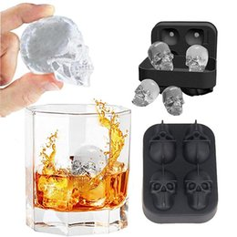 ice block mold NZ - 4 Holes Silicone Ice Cube Tray Black Ice Block Mold Skull Icy Ball Maker 3D Ice Square Tool for Party Bar Wine DIY
