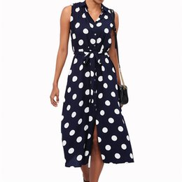$enCountryForm.capitalKeyWord Australia - Women Sleeveless Dress 2019 Elegant Ladies Turn-down Collar Polka Dot Print Dresses Casual Chiffon A Line Dress Chiffon Sundress MX190725