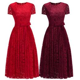 $enCountryForm.capitalKeyWord Australia - Tea Length Short Sleeves Evening Dresses Burgundy Full Lace Sash Jewel Neck Zipper Back Cheap Cocktail Party Gown Designer CPS1154