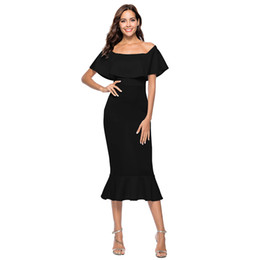 Discount mid white cocktail dress - Women Sexy Summer Dress 2019 Off Shoulder Ruffle Overlay Trumpet Dress Slim Mid-calf Gown Solid Elegant Cocktail Party O