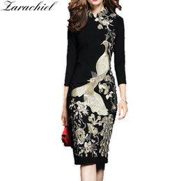 $enCountryForm.capitalKeyWord NZ - Casual Vestidos Flower Bird Gold Embroidery Dress Women 2019 Spring Plus Size Office Lady Stand Collar Black Slim Bodycon Dress T190608