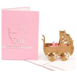 Paper Art Pop Up Cards Australia - Practical Boutique 3D Baby in pram Card Pop up Birthday Card Baby Gift Handmade Kirigami Paper Art Blank 3D Greeting
