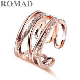 rose gold bague NZ - ROMAD Trendy Adjustable Ring Rose Gold Color CZ Rings for Women Fashion Color Aneis De Ouro Zirconia Cross Ring Jewelry bague