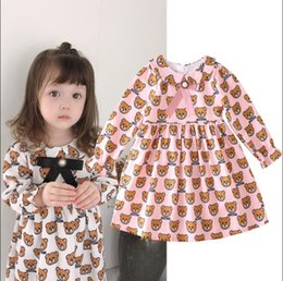 shirts dolls Australia - new New Brand tag Shirt Girls Long Sleeve Print Dress Child Baby Bear Lapel Doll Princess Dresses kids tops