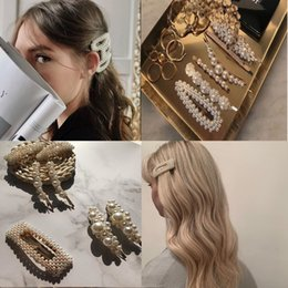 Discount vintage bridal hair jewelry - 2019 Fashion Vintage Metal Gold Hair pin Pearl Hair Clip For Women Barrette Bridal Jewelry Wedding Accessories Y8
