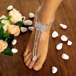 Anklet Toe Chain Australia - New Hot Fashion Women Butterfly With Toe Ring Foot Chain Rhinestone Barefoot Wedding Bride Anklets New Fashion Butterfly Anklets
