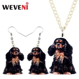 $enCountryForm.capitalKeyWord Australia - WEVENI Acrylic Black&Tan King Charles Spaniel Dog Necklace Earrings Jewelry Sets Cute Pets For Children Girls Charms Party Gift