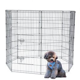 Wholesale metal fences for sale – custom 48 inch Exercise Yard for Pet Portable Folding Playpen Doggie Cats Fence Cage with Metal Wire Panels and Door Ship from USA