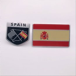$enCountryForm.capitalKeyWord UK - 2pcs per set Car Auto Trunk Slim Thin Spain Flag Spanish Aluminum Sticker Emblem Badge Decal Scratches Cover Protector
