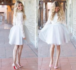 Dresses coctail online shopping - 2019 Short Formal Party Dresses Long Sleeves Lace Tulle Tutu Knee Length A Line Homecoming Gown vestido de noiva Custom Size Coctail Dress