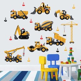 $enCountryForm.capitalKeyWord NZ - DIY Yellow Construction Vehicles Wall Stickers PVC Construction Trucks Wall Decals for Kids Room Nursery Decoration Removable