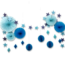 honeycomb decorations wholesale UK - 15pcs Blue Party Decoration Set Star Garland Honeycomb Balls Paper Fans Nautical Birthday Baby Shower Under the Sea Beach Party