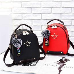 $enCountryForm.capitalKeyWord Australia - 1New Design Hasp Back Pack Bags Pu Leather Backpack Women Tassel School Bags For Teenagers Girls Luxury Small Pompom Backpacks