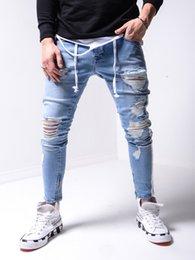 Wholesale tight light blue men for sale – denim Light Blue Distressed Boyfriend Jeans Men s Hip Hop high end tight slim pants new man slim distress jeans