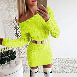 Ladies sexy Long sweaters online shopping - Hot Sale Autumn Winter Women Clothing Sexy Long Sleeve Sweater Dresses Lady FashionPackage hip dresses