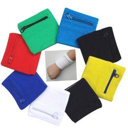 Sports Wrist Pouch UK - Zipper Wrist Wallet Pouch Running Sports Arm Band Bag Key Card Storage Bag Running Cycling Basketball Wristband Sweatband #72818
