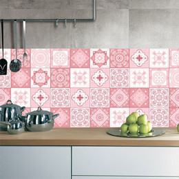 Home Sticker Wall Kitchen Room Australia - 3D Pink Tile Floor Sticker 20*100cm*1pcs Kitchen Bathroom Waist Line DIY Wall Stickers Home Decor Self-adhesive Art Mural Poster