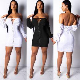 44773673a2 Buttons Up Sexy Vestidos de vendaje Mujeres Slash Negro Cuello de manga  larga Vestido ajustado sin mangas Casual Vestido blanco sin espalda con  hombros ...