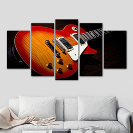 Guitar Spray NZ - fantasy colorful cool electric guitar 5 Pcs Combinations HD Unframed Canvas Painting Wall Decoration Printed Oil Painting poster