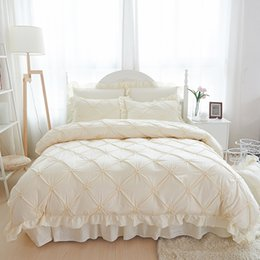 adult ruffle bedding Australia - 4 6pcs Hand-made Princess Quilt Duvet Cover Wedding 100% Cotton Ruffles Bedspread Bed Skirts Bedclothes Bedding Sets Beige Blue
