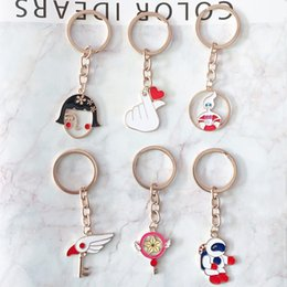 $enCountryForm.capitalKeyWord Australia - New children cute cartoon astronaut metal pendant key ring shy girl finger love key ring magician cherry blossom jewelry gift