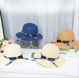 girls straw hat lace NZ - Summer Korean version bow ribbon fisherman hat beach sun hat tide outdoor holiday sun protection straw hat
