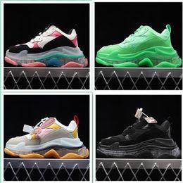 $enCountryForm.capitalKeyWord Australia - Balencia Men Shoes Triple S Clear Sole Black shoes Women Casual Dad Clear Sole White Trainers Fashion Neon Green Sneakers