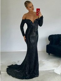 Wholesale Sparkly Black Mermaid Long Sleeve Prom Dresses New Off The Shoulder Floor Length Sequined Formal Evening Dress Party Gowns Custom Made