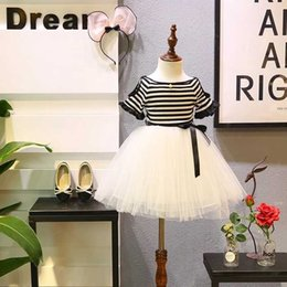 Girls Cinderella Tutu NZ - 2019 New Summer Item Girl Stripe Tulle Cinderella tutu lace One Piece Dress thanksgiving children velvet Wedding baby dresses frozen