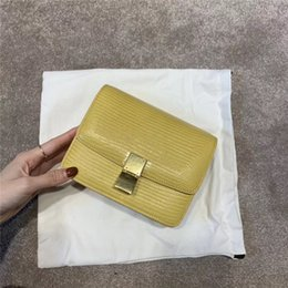 $enCountryForm.capitalKeyWord NZ - Art2019 Curd Bean Bag Woman Oblique Satchel Genuine Leather Small Square Ins Lizard Grain Box Package