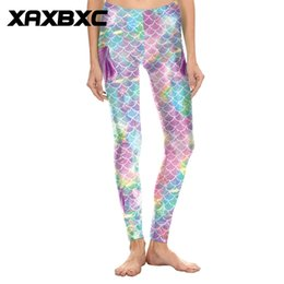 rainbow leggings NZ - 2018 D1819 Rainbow Mermaid Fins Scale 3D Print Push Up Slim Tights Fitness Women Jogging GYM Yoga Pants Femme Sport Leggings #799389