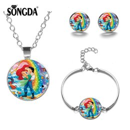 $enCountryForm.capitalKeyWord Australia - SONGDA The Little Mermaid Jewelry Sets Cartoon Princess Ariel Crystal Glass Necklace Bracelet Earrings Baby Girls Dress Matching