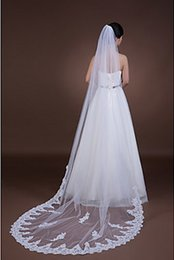 lace layers NZ - Hot Best Selling Luxury One Layer Lace Applique Edge Cathedral Length White Ivory Champagne Meidingqianna Brand Alloy Comb Bridal Veils