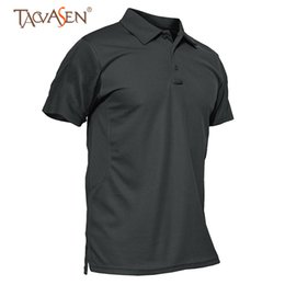 Discount short sleeve breathable fishing shirts TACVASEN Men Army Polo T Shirt Tactical Shirt Short Sleeve Camping Plus Size Fishing Polo T Hunting Shirts