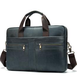 Mens Leather Messenger Bags UK - Men's Leather Briefcases Man Genuine Leather Laptop Bag Male Messenger Bag Soft Mens Business Man Shoulder j50
