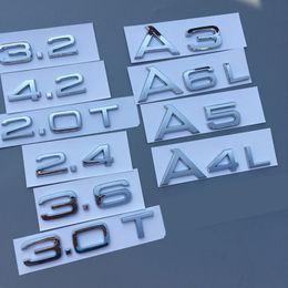car letter badges 2019 - Chrome 1.8T 2.0T 2.4 3.0T 3.2 3.6 4.2 A3 A4 A5 A6L A7 A8L Letter Number Badge Emblem Car Trunk Discharge Capacity Badge