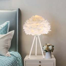 $enCountryForm.capitalKeyWord Australia - Modern Study Living Room Decoration Table Lamp White Feather Table Lights American children room Table Lamps Creative Bedroom Bedside Lamps