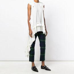 European Style Women T Shirt Australia - New 2019 European Fashion Summer Women Solid White Irregular Tee Top Sleeveless Ruffles Hem Girls Hippie Chic T-shirt Style F350