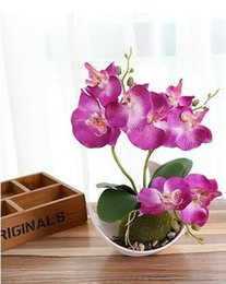 wedding table orchids NZ - 1 Set Artificial Butterfly Orchid Bonsai Decorative Fake Flower With Pot Ornaments Home Table Decor Wedding Decoration
