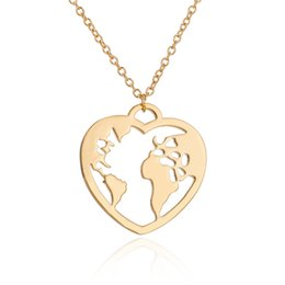 "Celtic Stainless Steel Wholesalers Australia - ""Stainless Steel Pendant Brass Chain Necklace Charm Women Choker Jewelry Collier Contracted Cute Hollow out map heart Necklaces NYX-30"""