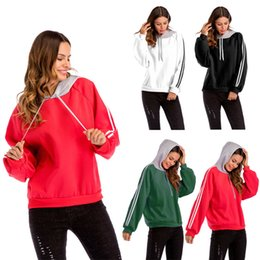 Black Blocks Australia - Womens Color Block Hoodie Long Sleeve Pullover Sweatshirt Outerwear 4 Colour (White Red Black Green) Size (M-3XL )