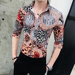 60b6bc163628 Summer Men Shirt 2019 Korean Mens Clothing Leopard Print Half Sleeve Casual  Shirts For Men Slim Fit Streetwear Blouse Homme 3XL