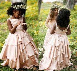 Ruffled floweRs online shopping - Flesh Pink Tiered Flower Girl Dresses Floor Length Zipper Back Black Girls Pageant Gowns Kids Formal Party Dresses Custom Made
