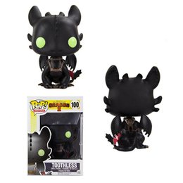 Black Props NZ - Funko POP How to Train Your Dragon 2 Toothless Toy PVC Figure Toy New Cartoon Movie Light Fury Black Doll Gift for Children