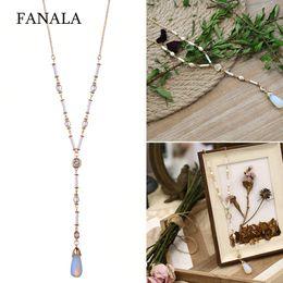 Artificial Chains Wholesalers NZ - Women Fashion Jewellery Artificial Gem Decoration Necklaces Link Chain Casual Pendant Necklace