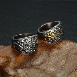 $enCountryForm.capitalKeyWord Australia - Punk Vintage Black Crystal Scorpion Pattern Mens Ring Gold Color Round Stainless Steel Titanium Rings for Men Jewelry
