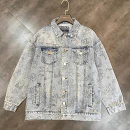 English pockEts online shopping - 2019 autumn new English alphabet graffiti printing double pocket denim short jacket