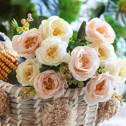$enCountryForm.capitalKeyWord Australia - Artificial Roses Flowers Pink Small Mini Silk Artificial Fake Flowers For Wedding Home Party Decoration Bouquet White Rose