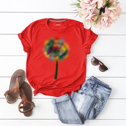 wholesale women fashionable tops NZ - Round Neck Fashionable High Streetwear Summer Womens Basic Top Dandelion Floral Printed Womens Summer Tshirts Casual Short Sleeve